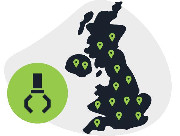 Map of UK showing nationwide car scrap yards