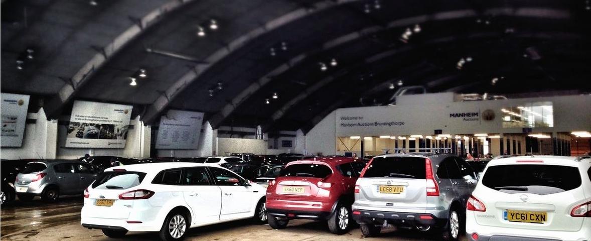 Cat N cars awaiting auction
