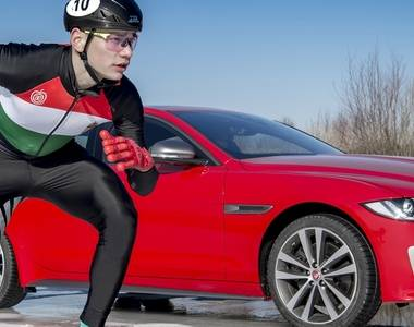 Jaguar XE300 takes to the ice against Olympic champion speed skater