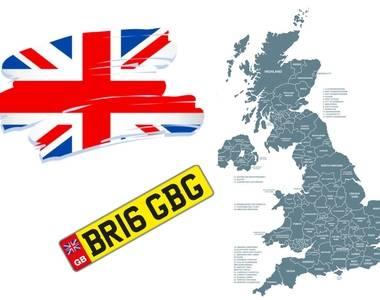Map of UK - DVLA number plate identifier regions