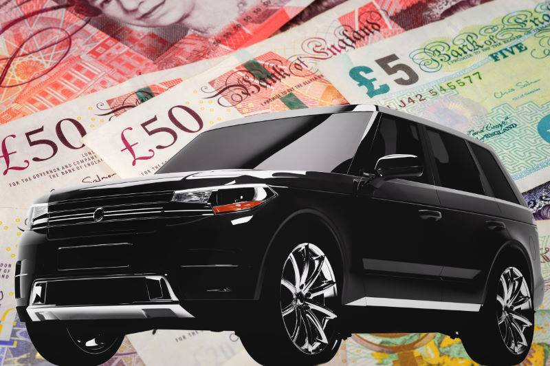 Car valuation on money background