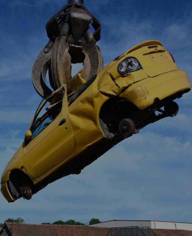 Scrap Car in air