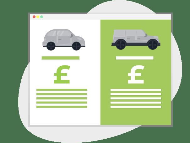 Diagram of road tax costs comparison
