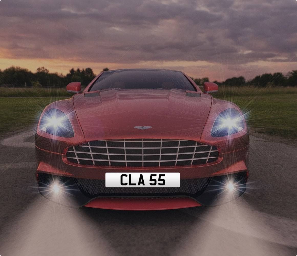 CLA55  DVLA private car registration on aston martin