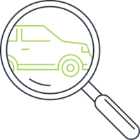 magnifying glass search for a used car